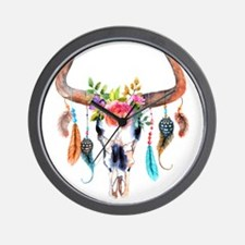 Colorful Bull Horns & Skull Flowers & F Wall Clock