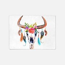 Colorful Bull Horns & Skull Flowers 5'x7'Area Rug