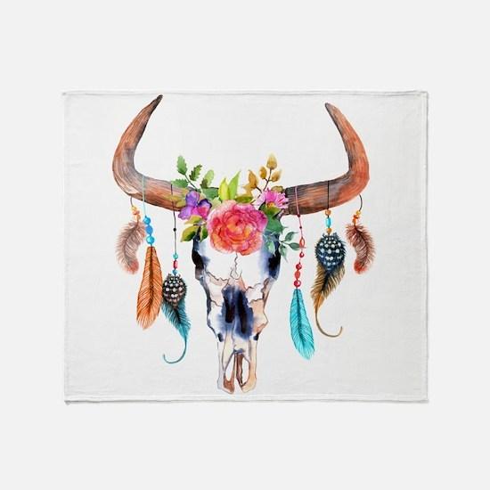 Colorful Bull Horns & Skull Flowers Throw Blanket