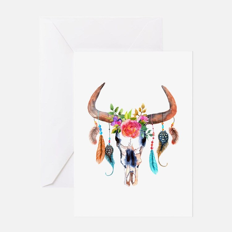 Colorful Bull Horns & Skull Flowers Greeting Cards