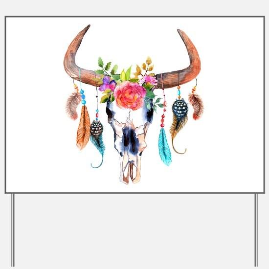 Colorful Bull Horns & Skull Flowers & Fe Yard Sign