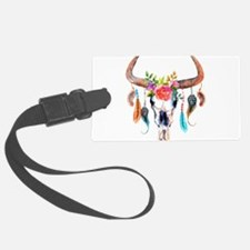 Colorful Bull Horns & Skull Flow Luggage Tag