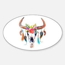Colorful Bull Horns & Skull Flowers & Feat Decal
