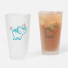 Cute Baby Elephant Illustration Drinking Glass