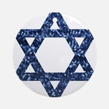 sequin star of david Round Ornament