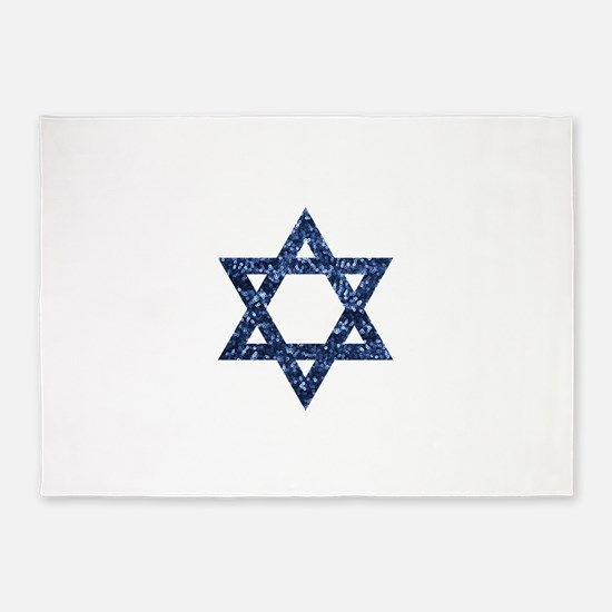 sequin star of david 5'x7'Area Rug