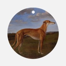 Cute Greyhound art Round Ornament