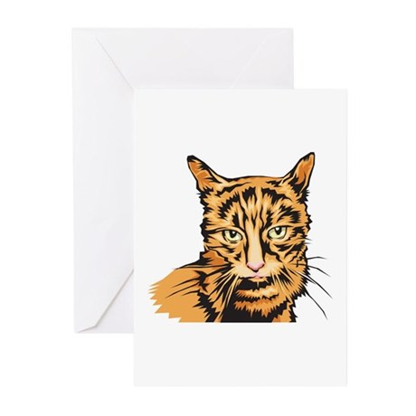 Realistic Orange Striped Tabby Cat Greeting Cards