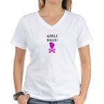 GIRLS RULE Women's V-Neck T-Shirt