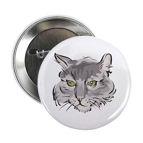 "Cute Grey Cat Face 2.25"" Button (100 pack)"