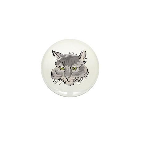 Cute Grey Cat Face Mini Button