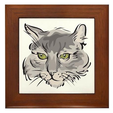 Cute Grey Cat Face Framed Tile