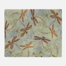 Dragonfly Dance Gold Throw Blanket