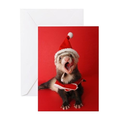 Greeting Card-Ferret Santa, Falalalala, Christmas