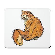 Long-Haired Orange Cat Mousepad