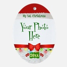 First Christmas Santa Photo Oval Ornament