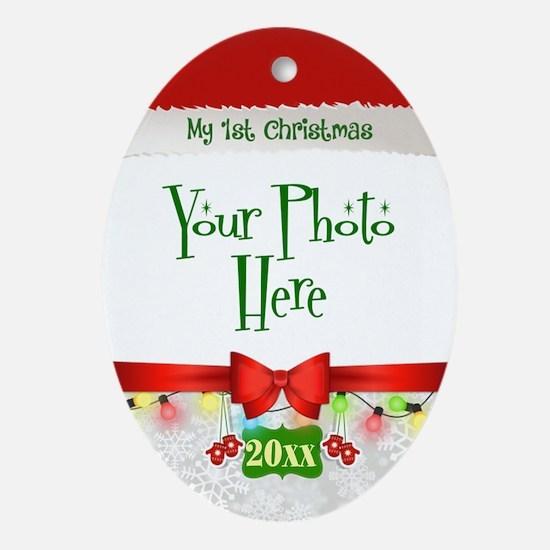 First Christmas Santa Photo Oval Ornament