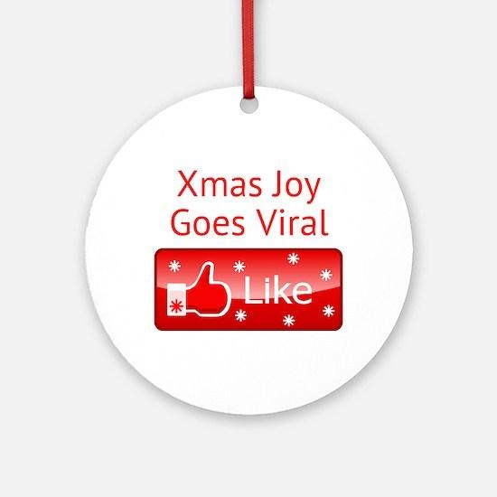Xmas Joy Goes Viral Round Ornament