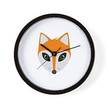 Fox with green eyes Wall Clock
