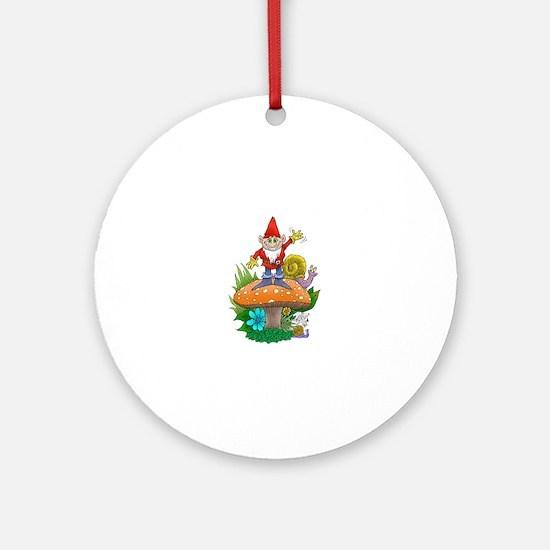 Waving gnome. Round Ornament