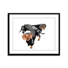 Skeleton Halloween Dachshunds Framed Panel Print