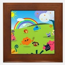 Happy Colorful Planet 02 Framed Tile