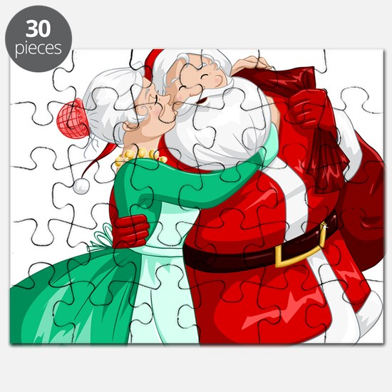 Mrs Claus Kisses Santa On Cheek And Hugs Puzzle
