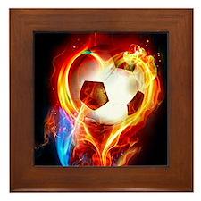 Flaming Football Ball Framed Tile