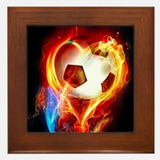 Flaming Football Ball Framed Tile