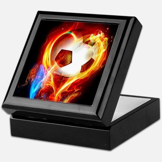 Flaming Football Ball Keepsake Box