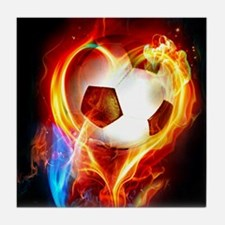 Flaming Football Ball Tile Coaster