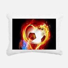 Flaming Football Ball Rectangular Canvas Pillow