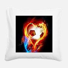 Flaming Football Ball Square Canvas Pillow