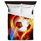 Flaming soccer ball Queen Duvet Covers