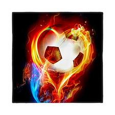 Flaming Football Ball Queen Duvet