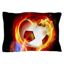 Flaming Football Ball Pillow Case