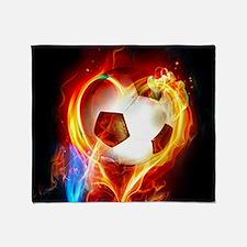 Flaming Football Ball Throw Blanket