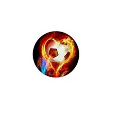 Flaming Football Ball Mini Button