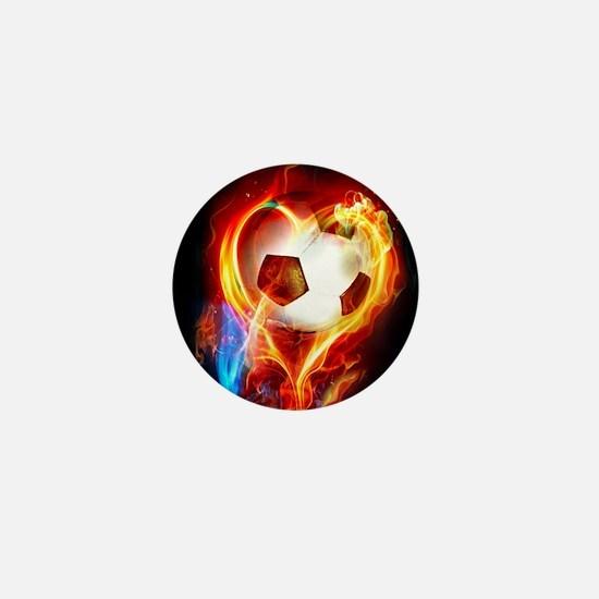 Flaming Football Ball Mini Button