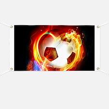 Flaming Football Ball Banner