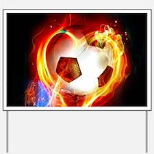 Flaming Football Ball Yard Sign