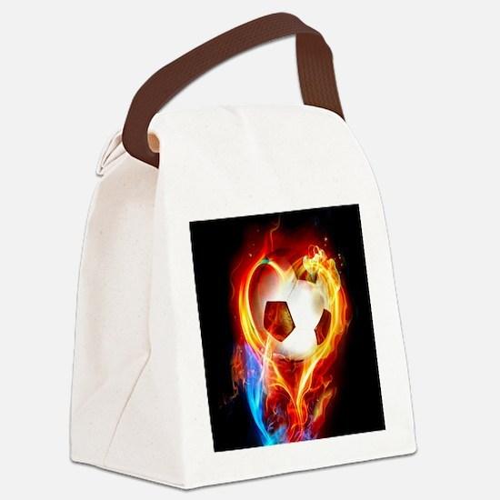 Flaming Football Ball Canvas Lunch Bag
