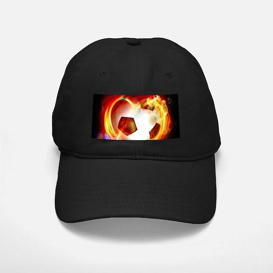 Flaming Football Ball Baseball Cap