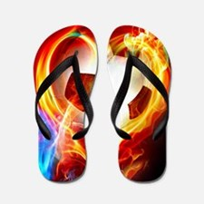 Flaming Football Ball Flip Flops