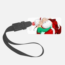 Mrs Claus Kisses Santa On Cheek Luggage Tag