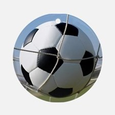 Football Ball In Net Round Ornament