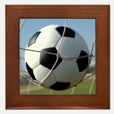 Football Ball In Net Framed Tile