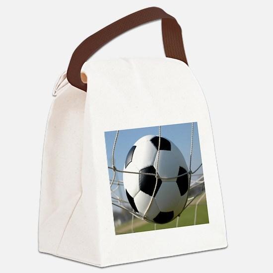 Football Ball In Net Canvas Lunch Bag