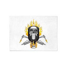 Flaming Welder Skull 5'x7'Area Rug