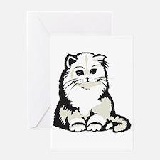 Cute White Persian Kitten Greeting Card